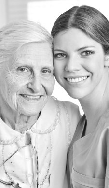 caregiver and patient are both smiling
